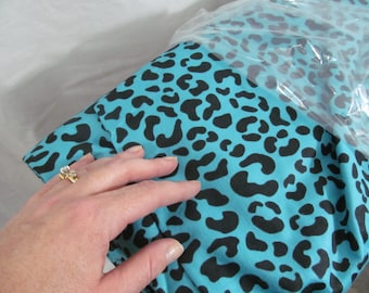 SALE - Cotton Flannel Fabric - Turquoise Cheetah Leopard Animal Design - by the yard