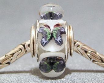 Butterfly Bead Handmade Lampwork Euro Charm Limited Edition Pale Blue Butterflies II