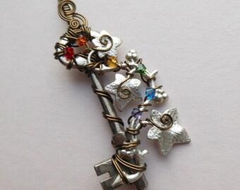 Silver Ivy Vine Key Pendant -- Rainbow Swarovski Crystals, Wire Wrapped Key, Antique Silver Ivy Vine, Antique Brass Wire