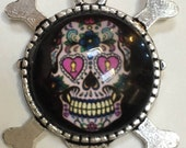 Sugar Skull pendant zombie  skeleton hat rose  silver dish with glass dome loop at top  G8