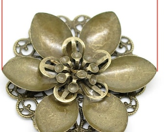 jewelry Bronze Filigree Flower Wraps Connectors  Round  findings supplies (sew200) quantity 2