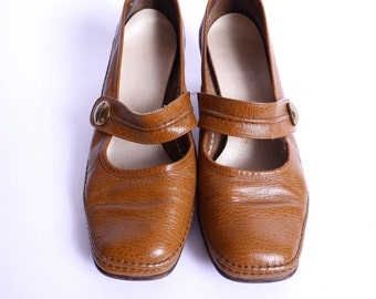 Vintage Mary Jane Pumps Brown Leather 8
