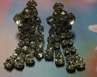 Vintage Silver Tone Diamondette  Rhinestone Dripping Earrings Unsigned Beauty ID 124