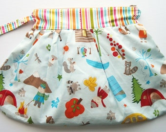 Woodland Animals Trendy Wet Bag .. Large Clutch Style with Zipper and Snap Wristlet Handle