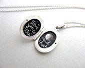Sterling Silver Enamel-Painted Locket, Love You to the Moon and Back