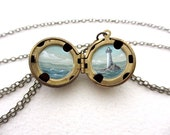 Tiny Lighthouse Oil Painting, Antiqued Brass Locket, Ocean Jewelry