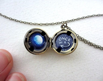 Once in a Blue Moon Locket, Hand-painted in Oil, One of a Kind Romantic Gift