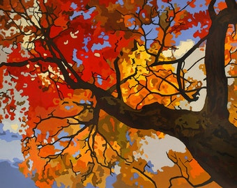 Autumn Branches - Giclee Fine Art Poster PRINT of Original Painting unmatted 13x19 by Jan Schmuckal