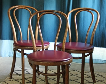 3 antique cafe bistro bentwood Thonet chairs / modern bohemian dining chairs