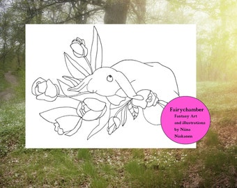 Bunny With Flowers Digital Stamp Spring Bunny Flowers Printable Coloring Page Lineart by Niina Niskanen