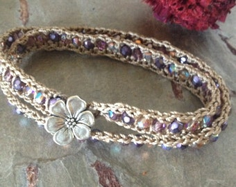 Double Wrap Czech Glass Crocheted Bracelet