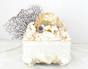 Shell Box, Capiz Nautilus Lacy Coral Box, Abalone Pieces Shells Box, Pearl and White Seashell Box,Box with Shells, Coastal Beach Home  Decor