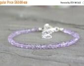 45% OFF: Lilac Amethyst Gemstone Anklet. Sterling Silver February Birthstone. BEach Jewelry. Simple Summer Fashion