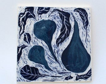 blue roots hand carved ceramic art tile