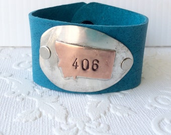 Turquoise and Copper Montana 406 Spoon Bowl Cuff