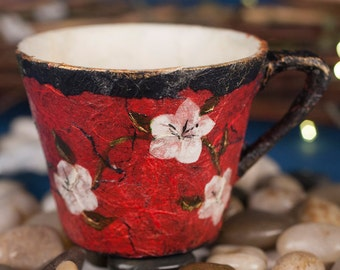 Upcycled Red Decoupage Teacup