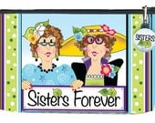 "Shortcut SISTERS FOREVER Pouch KIT- Fabric Printed on one 10"" x 12"" Art Panel"