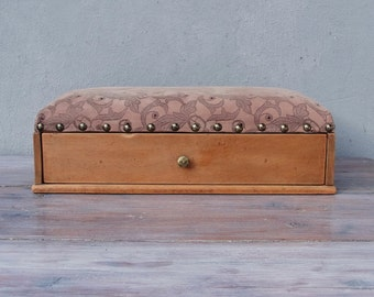 Drawer Chest Vintage Wooden Leather Chest 1940's - 1950's Jewelry Storage Rustic Treasure Chest