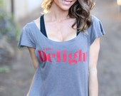 I am a Delight.  Off the Shoulder Flutter Sleeve Muscle Tee.  Six Colors to Choose From, Made in the USA. Luxury Comfy Yoga and Lounge Wear