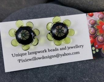 Earth daisy lampwork surgical steel stud post earrings MTO