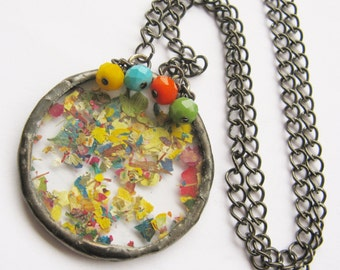 flower petal necklace - statement flower necklace - beaded necklace - real flower necklace - pressed flower jewelry - rainbow necklace