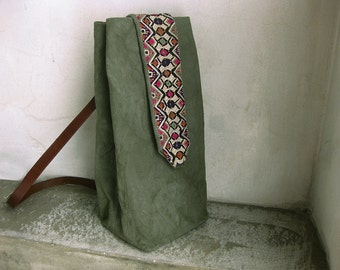 Side Bag Cross Body Heavy Cotton Hand Dyed Army Green Up Cycled Leather Belt Strap Ethnic Tribal Embroidery
