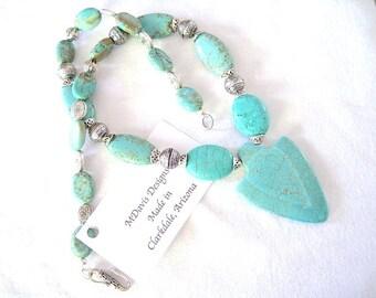 Turquoise Arrow Head Pendant Beaded Beautiful Handmade Necklace
