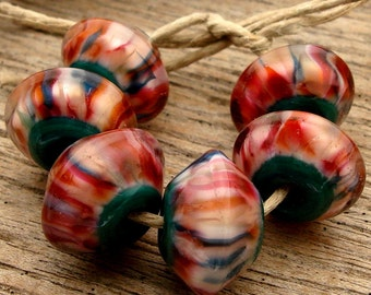 GEORGIA PEACH  - Handmade Lampwork Bicone Beads - Earring Pairs - 6 Beads