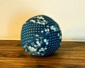 Fabric Ball - Baby Ball - Blue - Floral - Dots