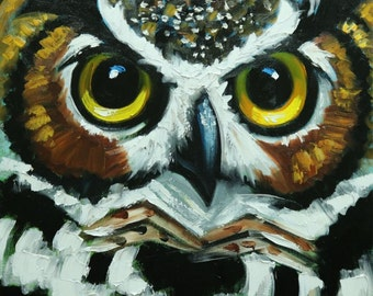 Owl painting 125 18x18 inch original oil painting by Roz