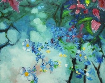 Floral painting 233 30x30 inch original still life oil painting by Roz