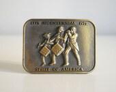 1970s Bicentennial Brass Belt Buckle Spirit of America Revolutionary War 1776 1976 Retro Collectible Men Accessories Military Fife Drum Corp