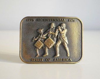 Brass Belt Buckle, Spirit of America, 1970s Spirit of 1776, Revolutionary War, Bicentennial, Men Accessories, Military Fife Drum Corp