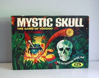 Mystic Skull Game, Vintage Board Game, 1960s Voodoo Game, Voodoo Dolls, Ideal Game, Human Skull, Horror Graphic, Vintage Toy Collectible