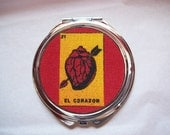 Loteria compact mirror retro vintage rockabilly Mexico pocket mirror kitsch