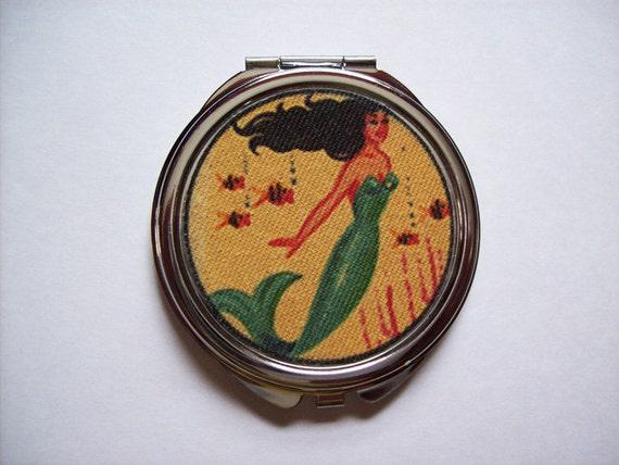 retro mermaid compact vintage 1950's pin up girl pocket mirror rockabilly