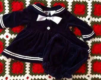 Velour Sailor Dress 6/9 Months