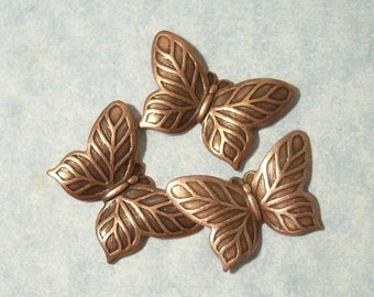 3 Small Copper Butterfly Stampings, Plated Brass Stamping, Top Drill for Necklace Pendant