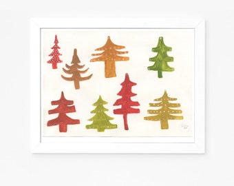 Christmas Trees - Original gouache painting