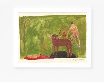 Original Folk Art Painting || Man Stabs Attacking Bear with Forks