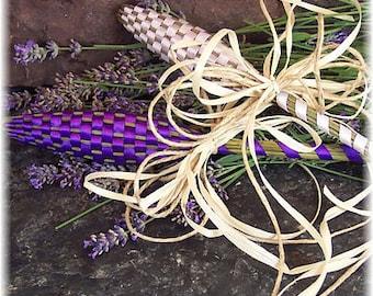 Lavender Wands, Handmade Lavender Bottle Wand, Set of two Lavender Ribbon Wands