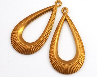2 pcs brass teardrop earring charms, long loop components, vintage pendants stampings 34mm