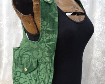 Utility vest shoulder holster - green fancy shoulder holster - womens shoulder holster - fancy purse vest - Medium Narrow
