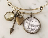 Love Charm Bracelet - Personalized Definition Jewelry - Valentines Day - Anniversary - Wedding Gift - Stacked Bangle