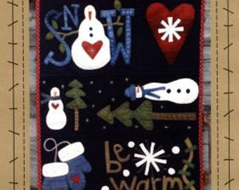 Primitive Folk Art Wool Applique Pattern - Snow Happy - Winter Snowmen Heart Trees Mittens