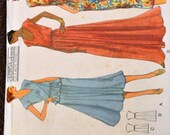 Vintage 1970's Sewing Pattern Vogue 7053  Misses' Dress, Top, and Skirt Size 14-16, Bust 36-38 inches Complete