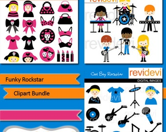 Funky rockstar clipart bundle/ musician, rock band/ digital images/ commercial use clipart