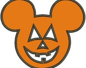 Machine Embroidery Mickey Pumpkin Applique Design pes dst jef sew hus Auto Download