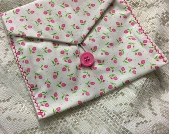 Rose bud coin purse, pouch, clutch