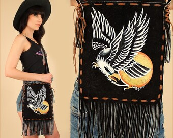 ViNtAgE 60's 70's EAGLE Fringe Handbag Hand Painted Black Suede Leather Crossbody Purse Woodstock Era Biker Hippie Sunshine Bohemian BoHo